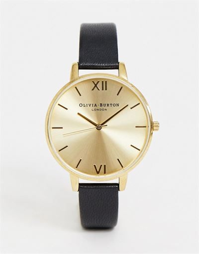 Olivia Burton OB138D06 Sunray big dial leather watch in black