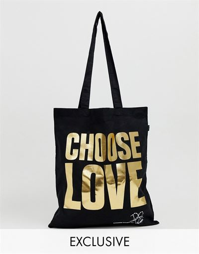 Help Refugees Choose Love gold foil organic cotton tote bag