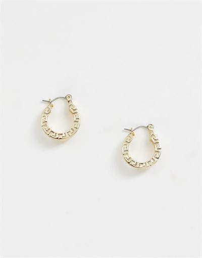 Glamorous gold chunky hoop earrings with geometric embossing