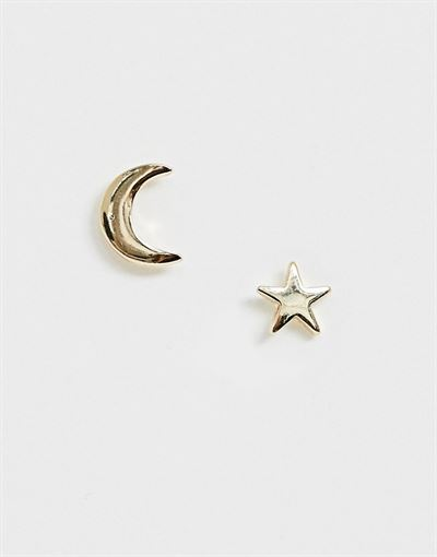 Pieces moon and star stud earrings