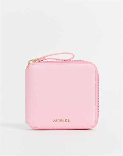 Monki zip around wallet in light pink