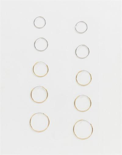 Monki 10 pack mini hoop earrings in gold and silver
