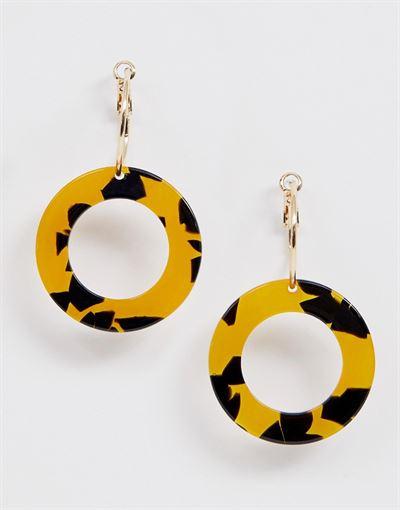 Monki hanging hoop earrings in gold and tortoise
