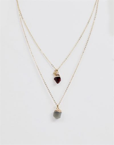 Monki multi stone layer necklace in gold