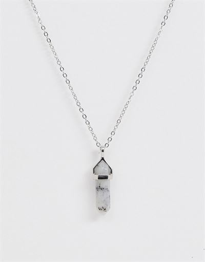 Monki necklace with natural stone pendant in silver