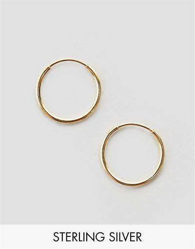ASOS DESIGN gold plated sterling silver 9mm fine hoop earrings