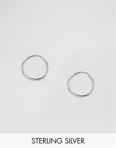 ASOS DESIGN sterling silver 9mm hoop earrings