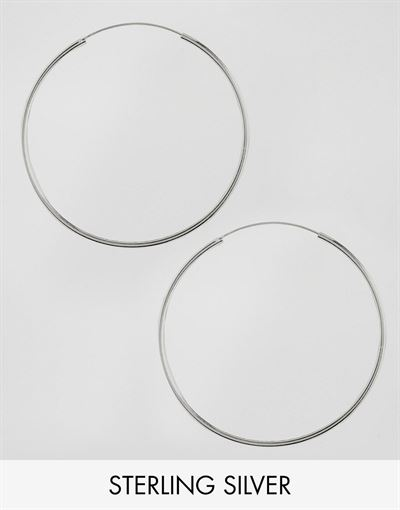 ASOS DESIGN sterling silver 60mm hoop earrings