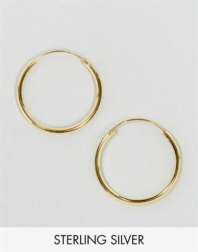 ASOS DESIGN gold plated sterling silver 20mm hoop earrings