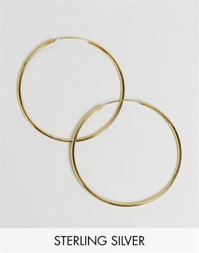 ASOS DESIGN gold plated sterling silver 60mm hoop earrings