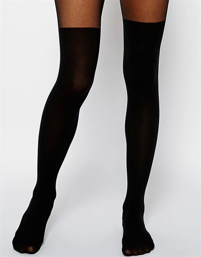 ASOS DESIGN mock over the knee tights with bum and tum support