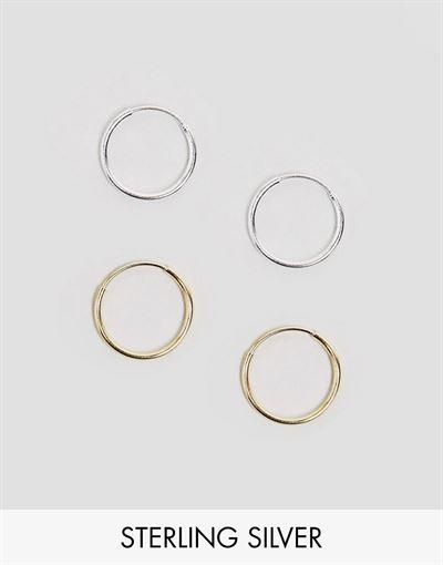 ASOS DESIGN mixed plated sterling silver pack of 2 hoop earrings