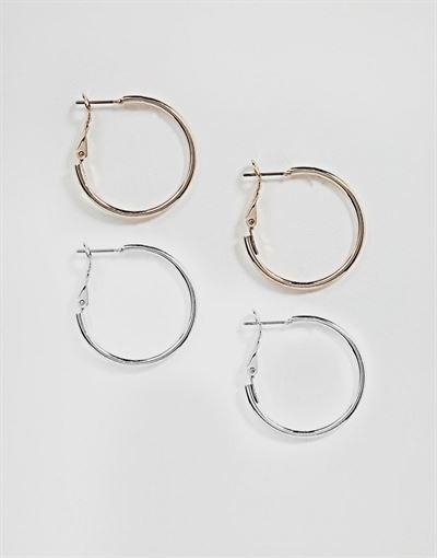 ASOS DESIGN two pack simple hoop earrings