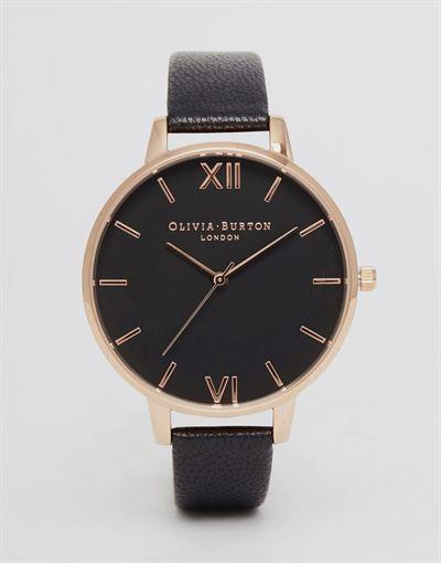 Olivia Burton OB15BD66 big dial leather watch in black & rose gold