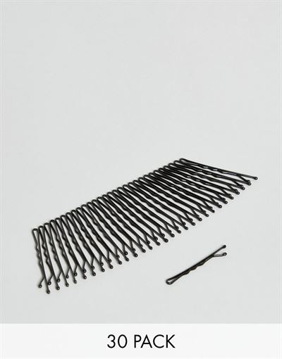 ASOS DESIGN pack of 30 black kirby grips